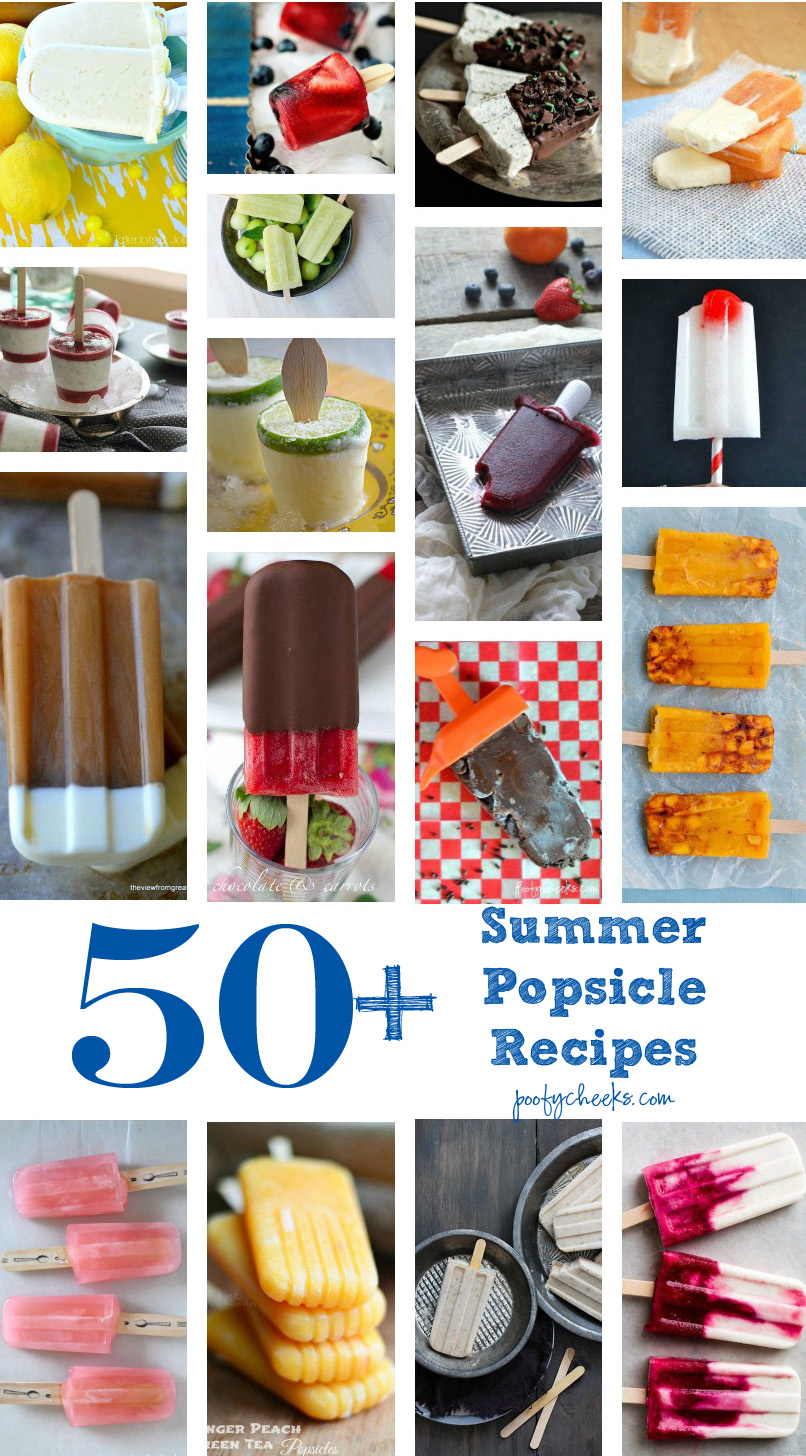50+ Popsicle Recipes - fudgesicles, ice pops, fruit popsicles, pudding pops and more!
